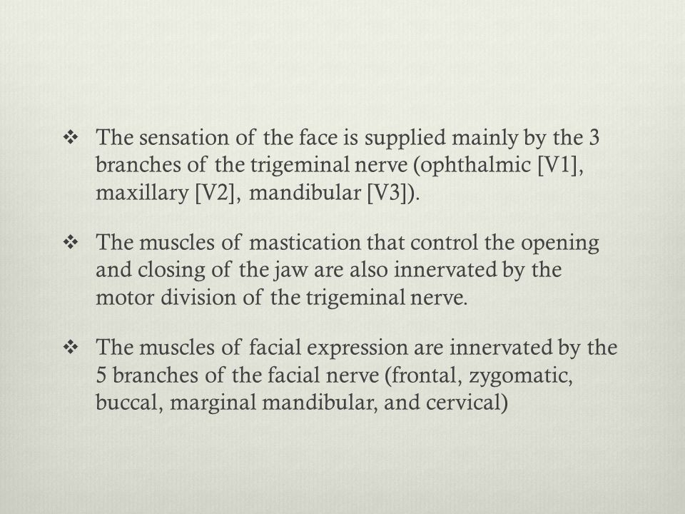The sensation of the face is supplied mainly by the 3 branches of the trigeminal nerve (ophthalmic [V1], maxillary [V2], mandibular [V3]).